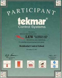 Lew Plumbing Certifications: Tekmar Certificate
